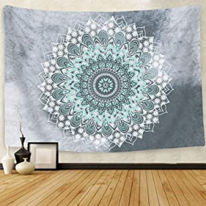 BROVAVE Psychedelic Mandala Bohemian Tapestry Wall Hanging Indian Art Print for Bedding Home Decor(51x59 Inches)