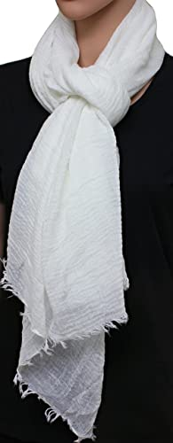 FIA MONETTI Estola de bufanda de mujer – Blanco – 180 x 70 cm – Bufanda con fucsias cortas en diferentes colores – un accesorio ideal para cualquier atuendo!