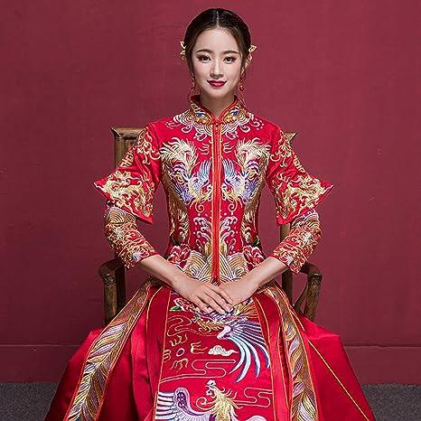 Abiti Da Sposa Cinesi.Yunding Abito Da Sposa Cinese Vestito Rosso Di Lusso Cheongsam