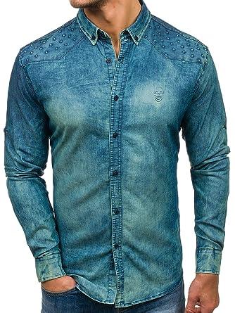 BOLF Jeanshemd Freizeit Jeans Hemd Herrenhemd Langarm MADMEXT 0540-1  Dunkelblau-Grau M [