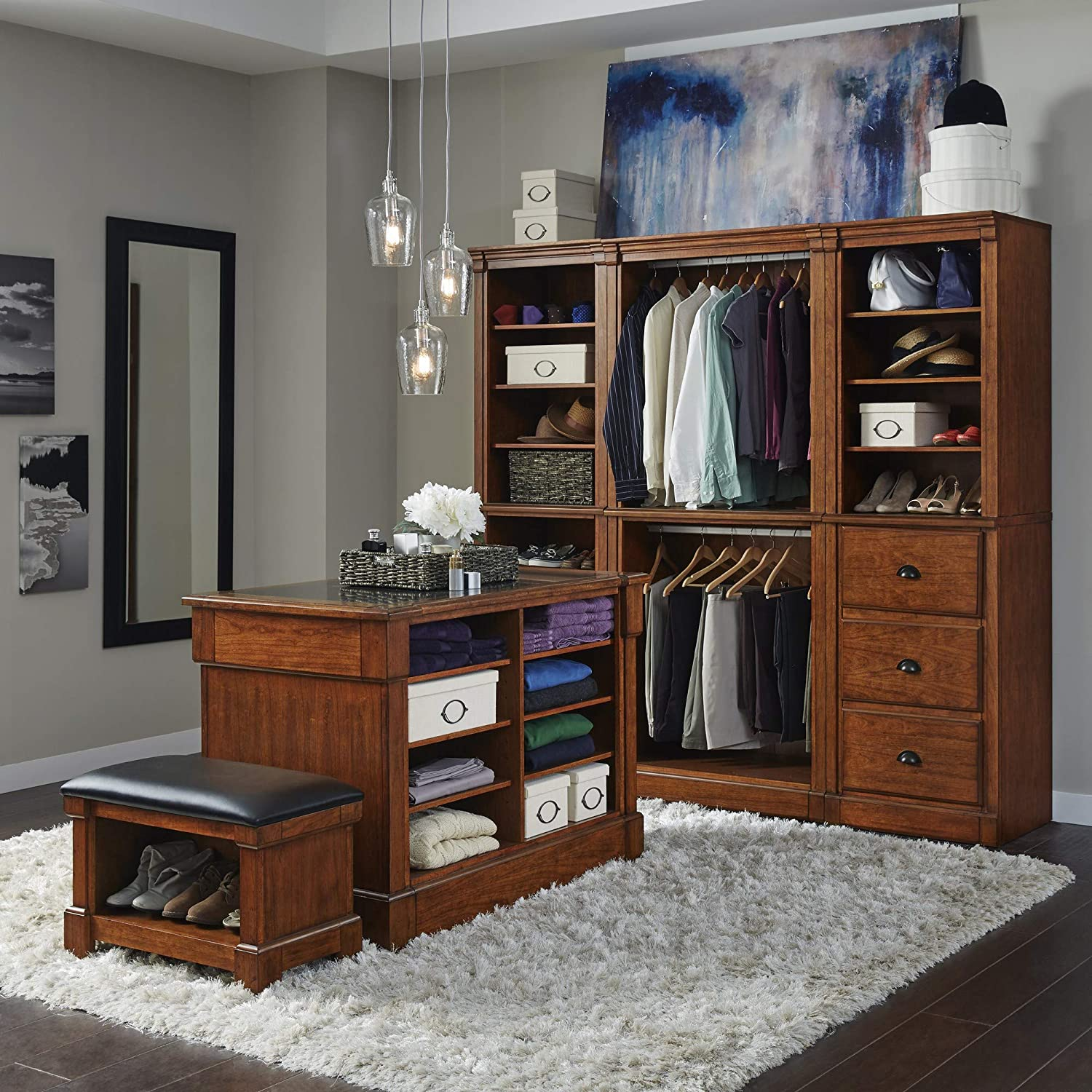Peachy Aspen Rustic Cherry 5 Piece Closet Storage System Organizer By Home Styles Gmtry Best Dining Table And Chair Ideas Images Gmtryco