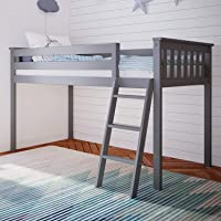 Max & Lily 180212-121 Solid Wood Twin-Size Low Loft Bed, Grey