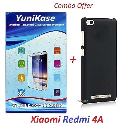 super popular 3cd44 d2b66 Yunikase Hard Matte Finish Back Cover Case ( Black ) With Tempered Glass  Screen Protector For Xiaomi Redmi 4A / Xiaomi Redmi 4A( Transparent )