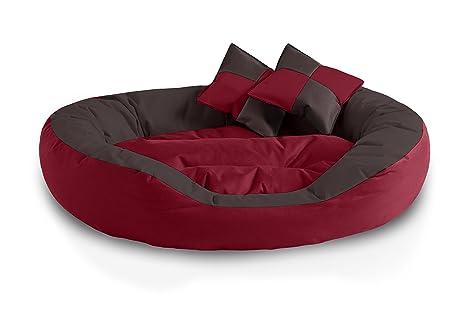 BedDog 4en1 Saba Rojo/Negro XL Aprox. 85x70cm colchón para Perro, 7 Colores, Cama, sofá, Cesta para Perro
