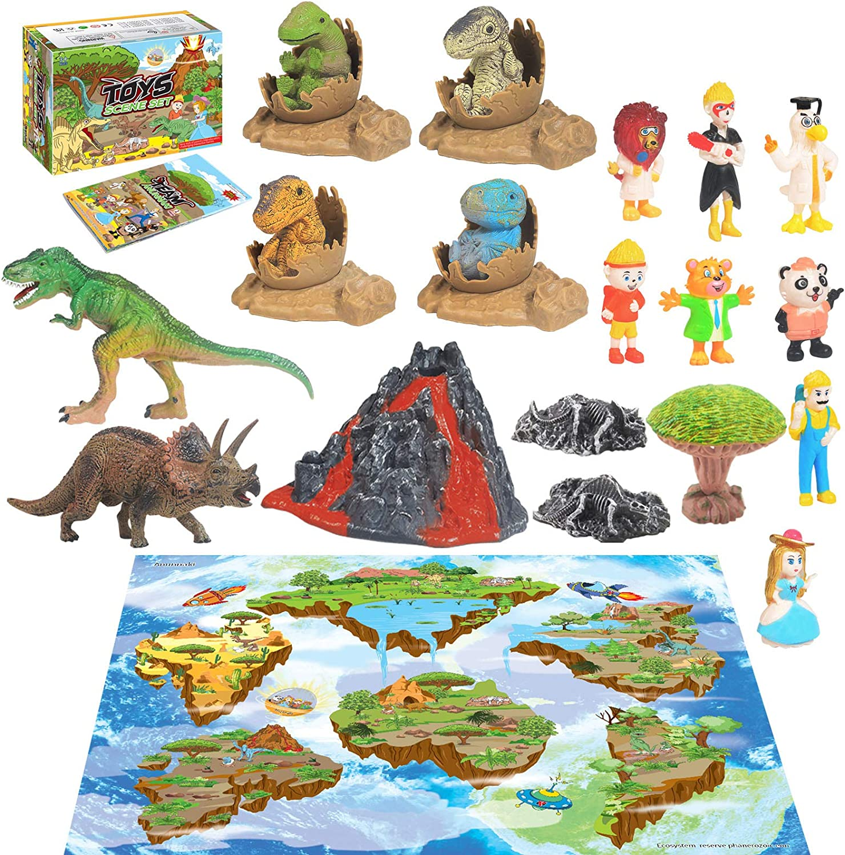 28PCS Jurassic Dinosaur Toys,Activity Play Mat Creating a Dino Park with T-Rex Triceratops Baby Dinosaur,Egg Nest,Figure,Tree,Dinosaur Stone,Simulation Volcanic, for Kids, Boys & Girls.