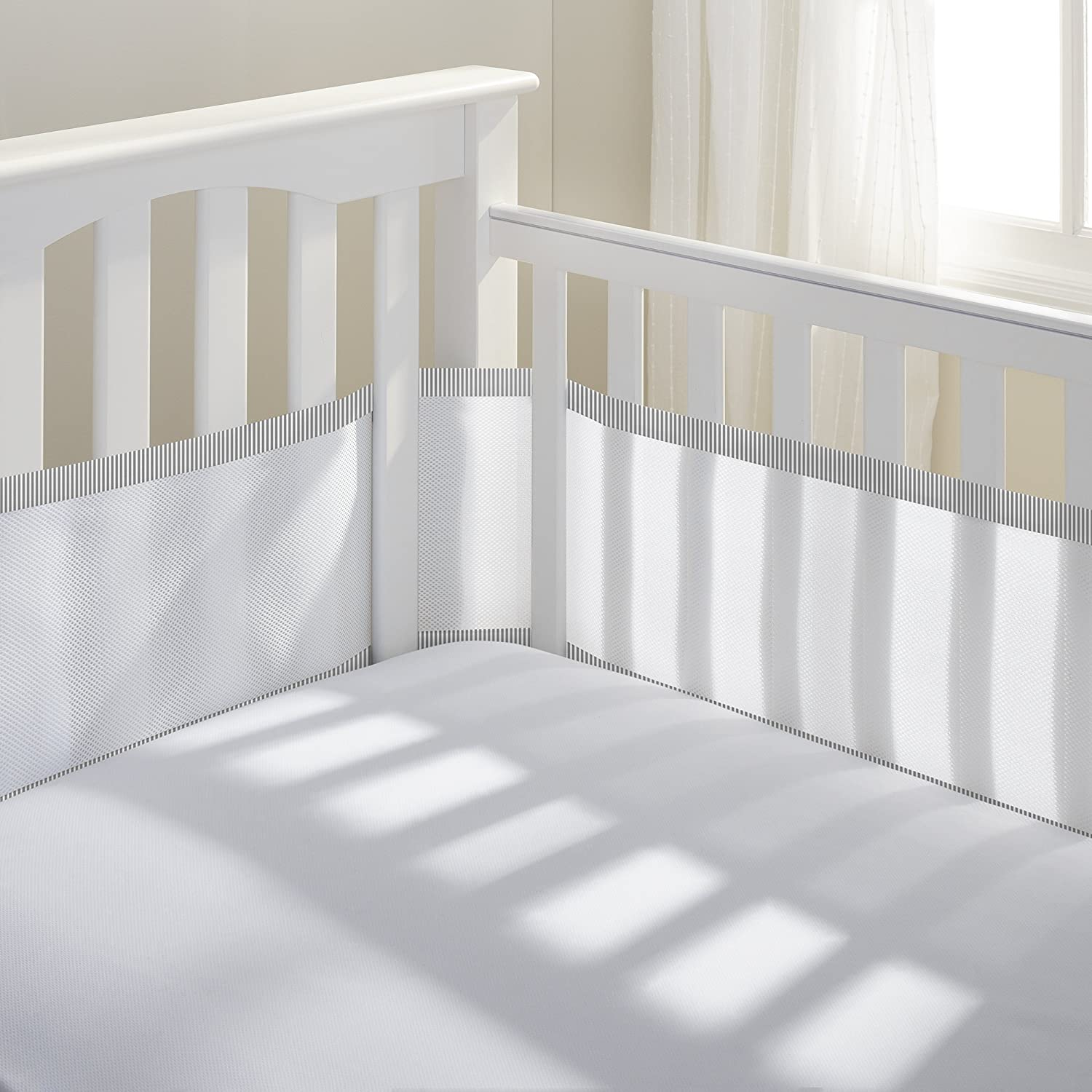 BreathableBaby | Breathable Mesh Crib Liner | Doctor Endorsed | Helps Prevent Arms and Legs from Getting Stuck Between Crib Slats | Independently Tested for Safety | White w/Gray Seersucker Breathable Baby 10428