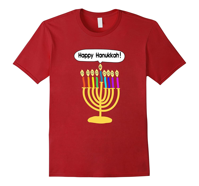 Happy Hanukkah Smiley Menorah T-shirt Cute Chanukkah Tshirt