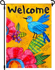LAYOER Yellow Garden Flag 12.5 x 18 Inch Double Sided Bird Flowers Welcome Friends Decorative Flags (Oil Painting Bird)