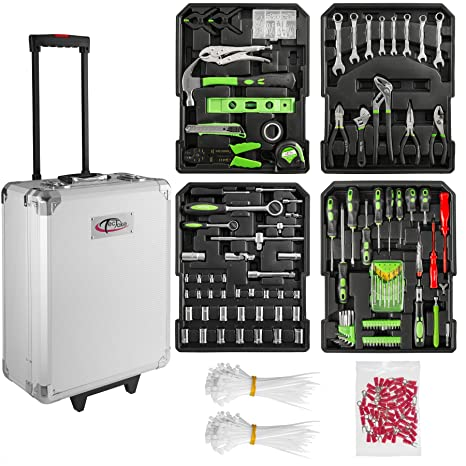 TecTake Maletín con herramientas de aluminio con 699pc piezas maleta trolley caja | Mango telescópico |