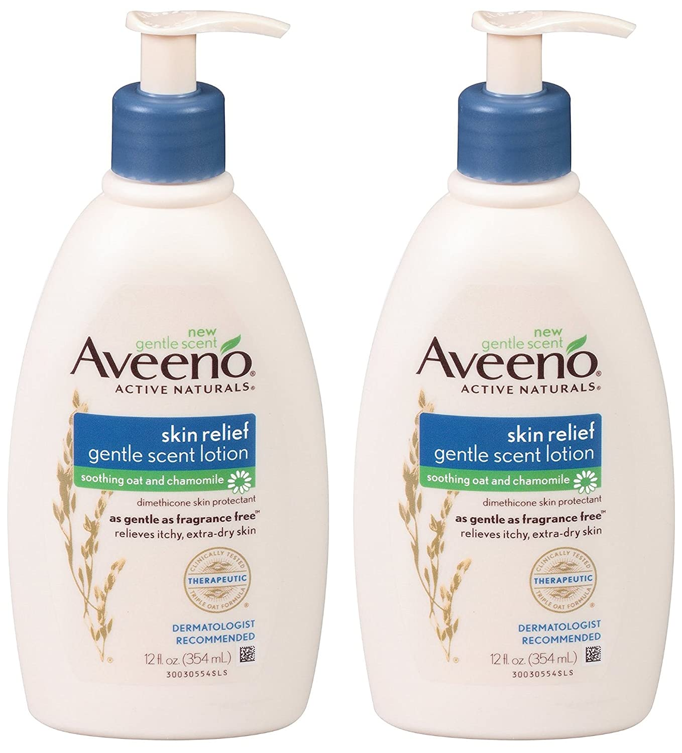 Aveeno Skin Relief Moisturizing Lotion with Chamomile Scent & Triple Oat Complex, Dimethicone Skin Protectant for Sensitive & Extra-Dry Itchy Skin, 12 fl. oz (Pack of 2)