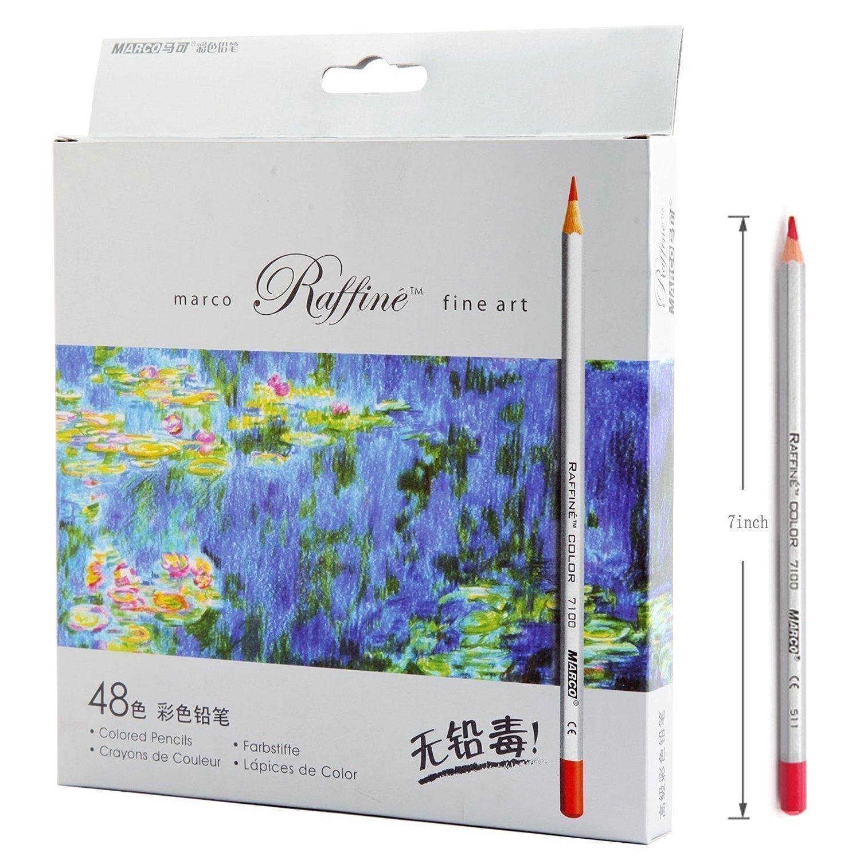 Amazon.com : Lanxivi 48 Marco Colored Pencils with Pen Pouch Set ...