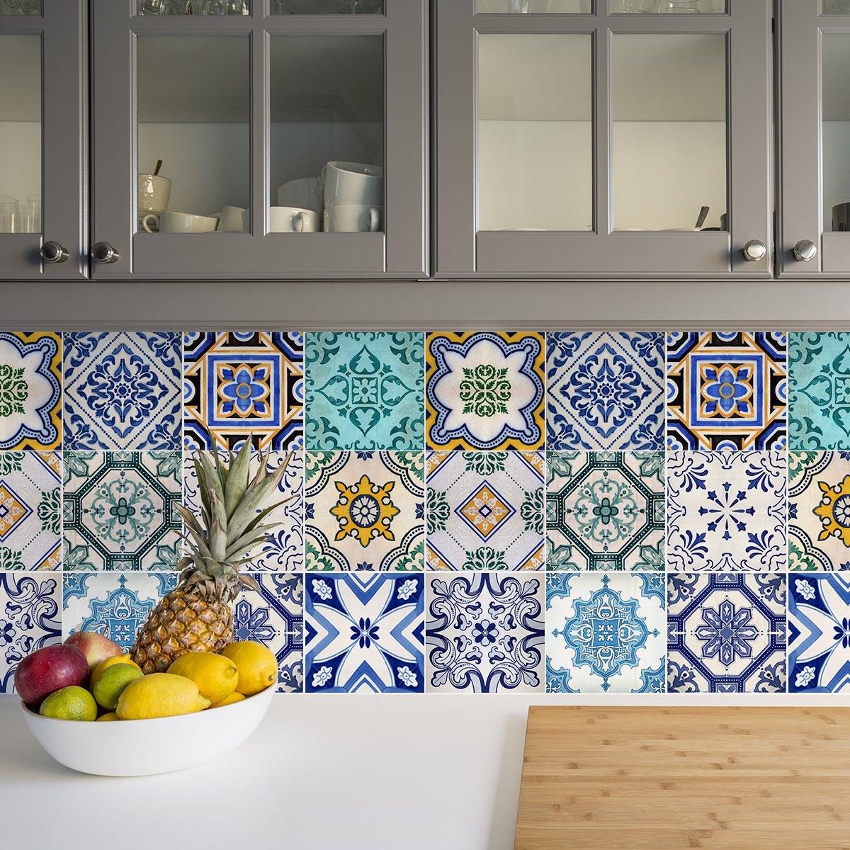 Sirface tradizionale spagnola per piastrelle adesivi per piastrelle–Set per cucina e bagno–Confezione da 24–diversi, 6x6 inches | 15x15 cm