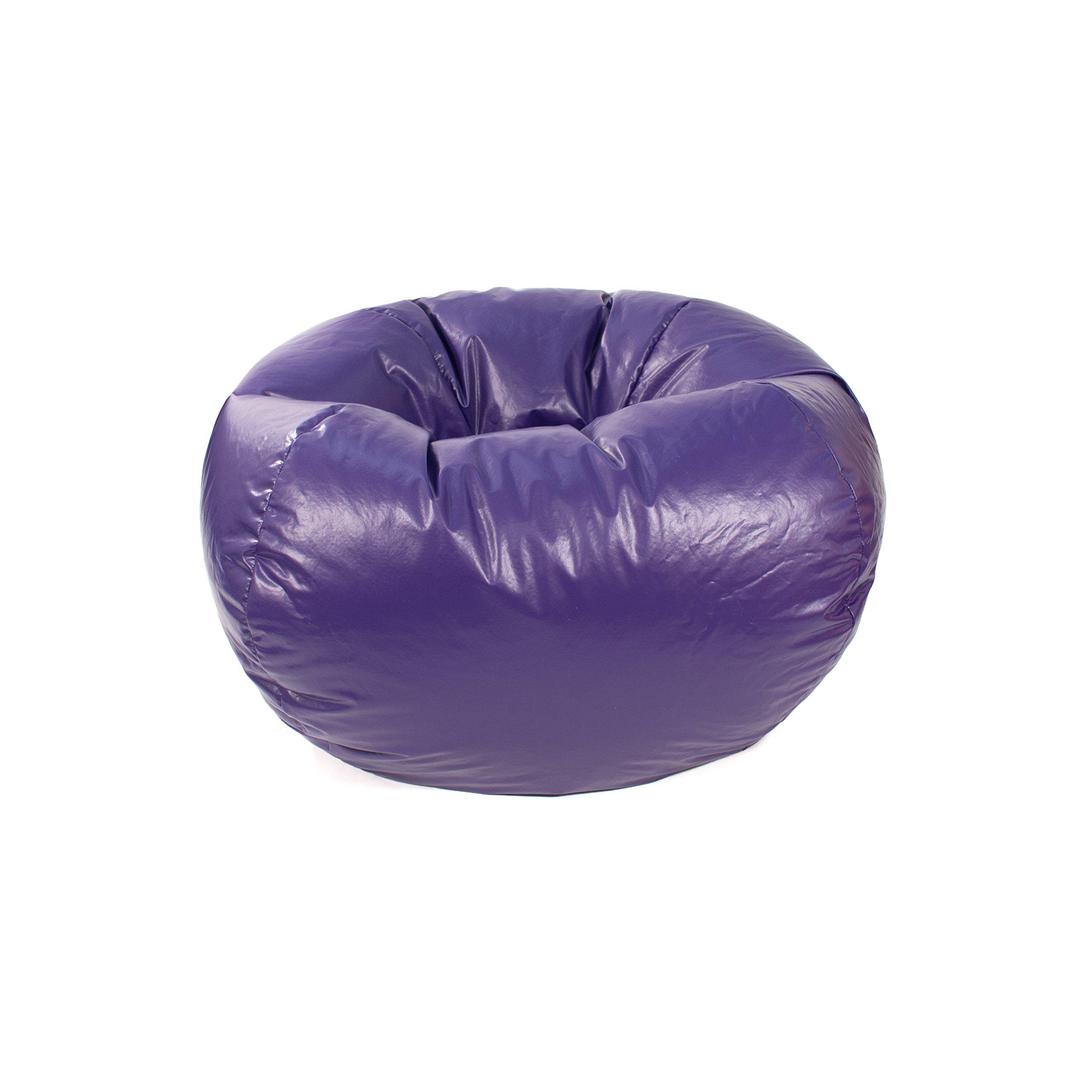 Gold Medal Bean Bags 30010546817 Medium Leather Look Beanbag, Tween Size, Purple