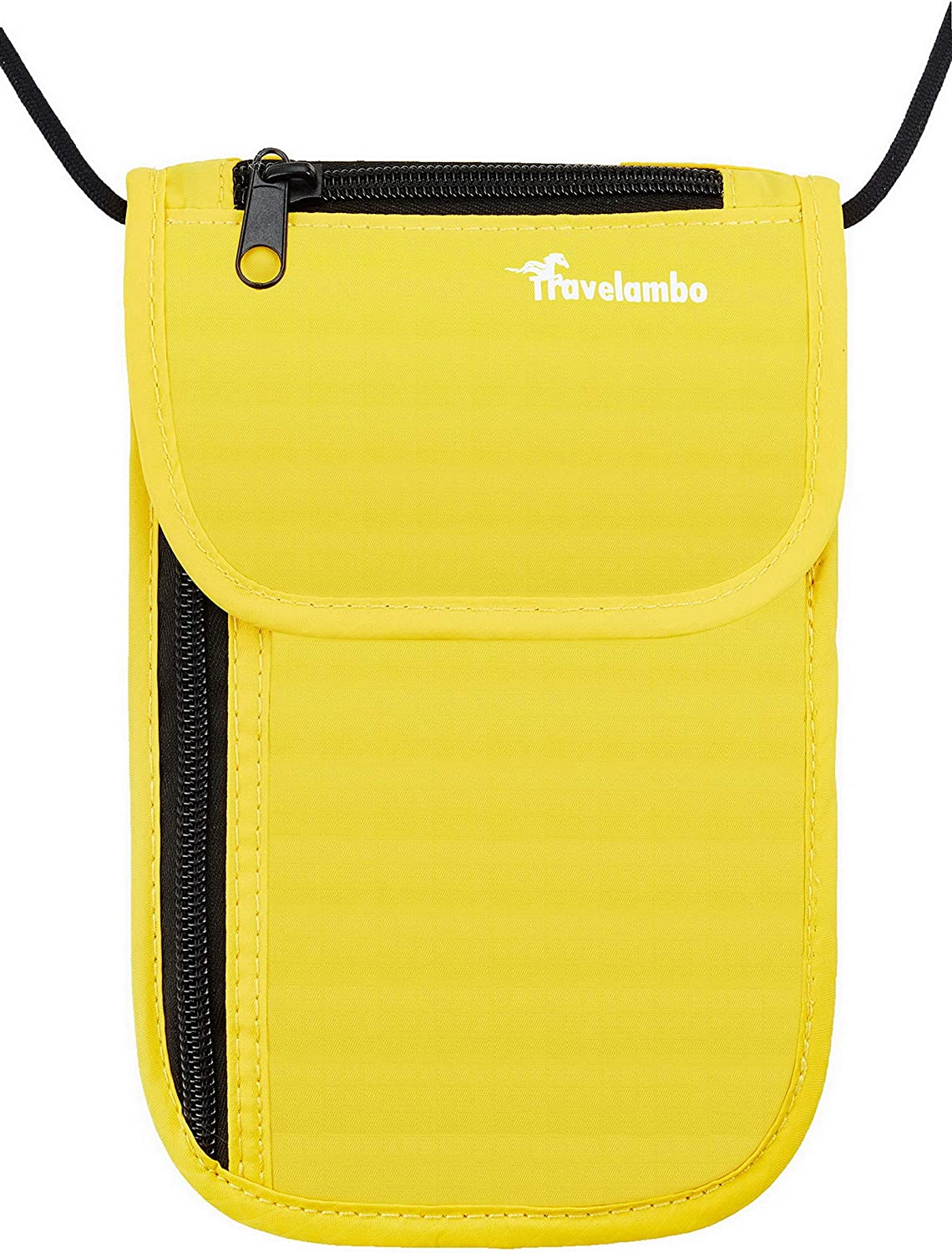 yellow Travelambo Neck Wallet and Passport Holder Travel Wallet with RFID Blocking for Security