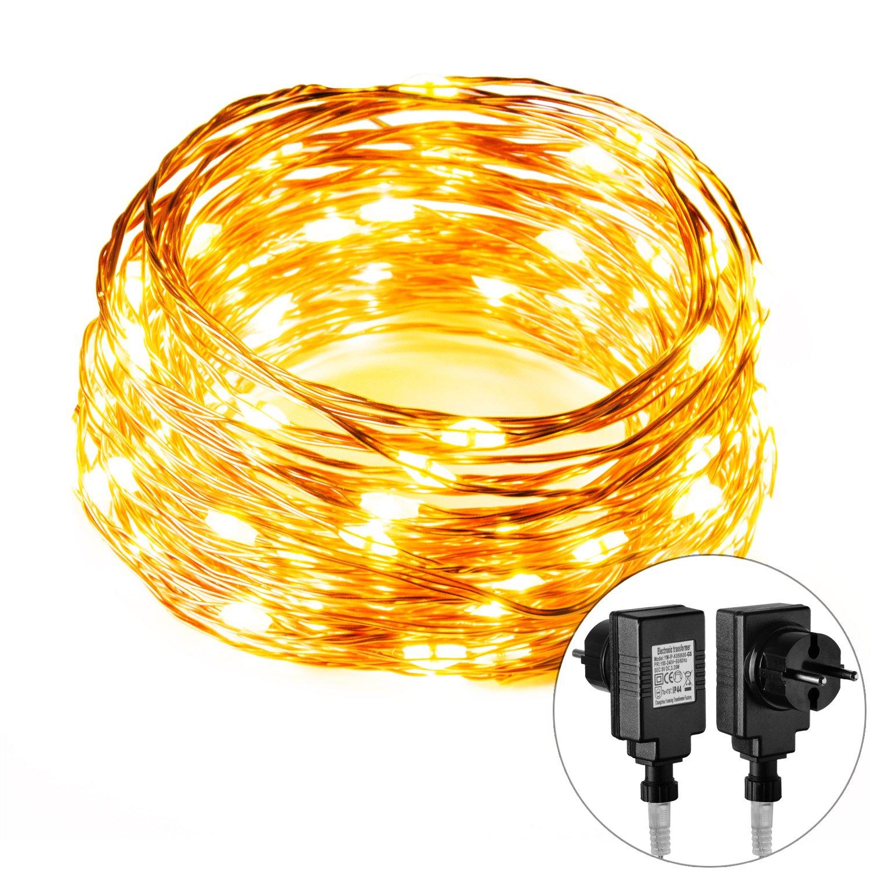 Lichterkette Außen, MORECOO 10M 100 LED mit Wasserdichtem Stecker ...