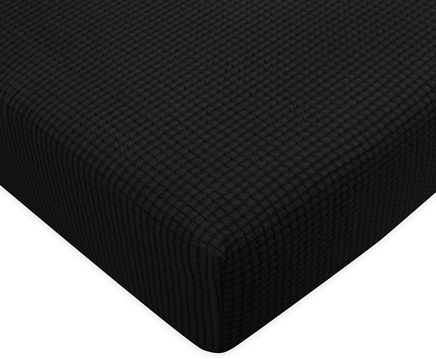 Subrtex Spandex Elastic Couch Stretch Durable Slipcover Furniture Protector Slip Cover for Settee Sofa Seat (Chair Cushion, Black)