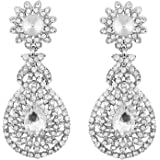 I Jewels Rhodium Plated Austrian Diamond Earrings for Women E2100ZW (White)