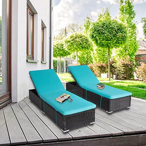 2-Pieces All-Weather Adjustable Outdoor Patio Lounge Chairs Furniture PE Wicker Chaise Lounge with Removable Cushions