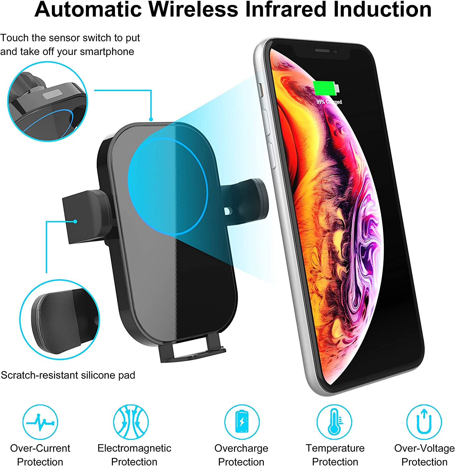 ElekBest Wireless Car Charger Windshield Dashboard Air Vent Phone Holder Compatible with iPhone 8+ 10W//7.5W Fast Charging Auto-Clamping Car Mount 360/° Rotation Galaxy