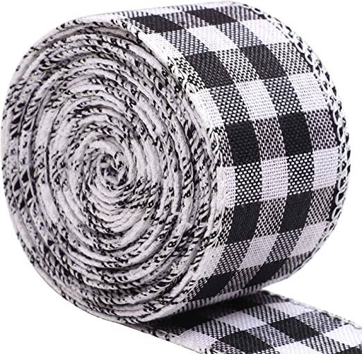URATOT 2 Rolls Red and Black Plaid Burlap Ribbon Wired Ribbon Christmas Wrapping