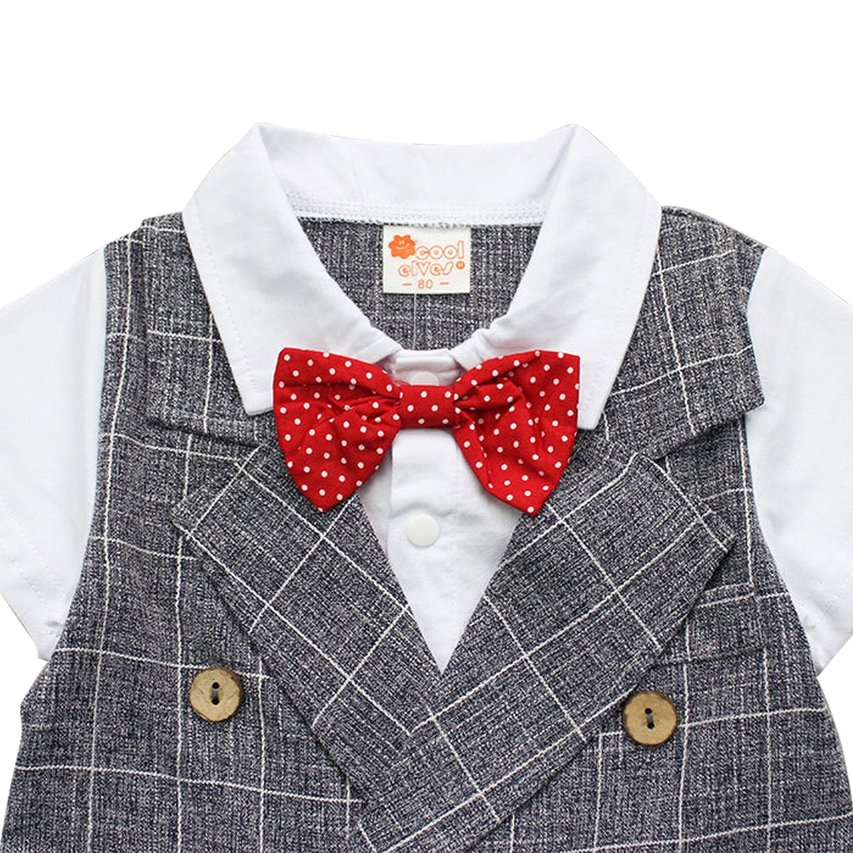 Kanodan Toddler Boy Plaid Gentleman Suits with Bow Summer Shorts Set 1-4Years