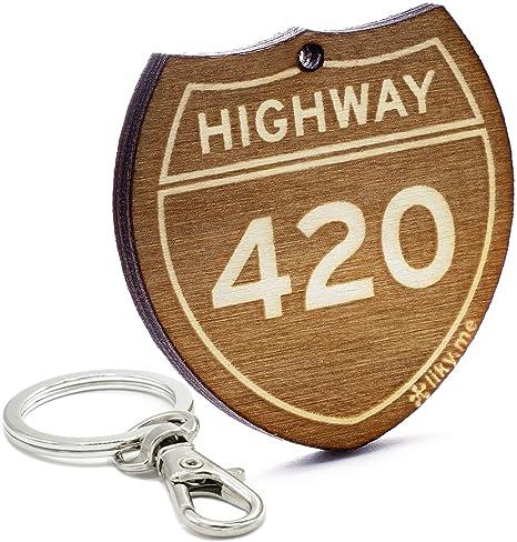 LIKY® Highway 420 - Llavero Original de Madera Grabado ...