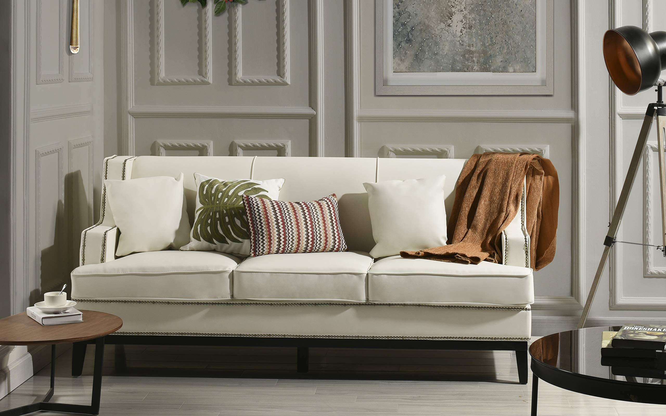 Modern Bonded Leather Sofa with Nailhead Trim Detail (White) by Divano Roma Furniture