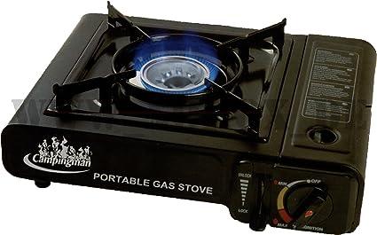 Campingman Hornillo de gas butano portátil, color negro ...