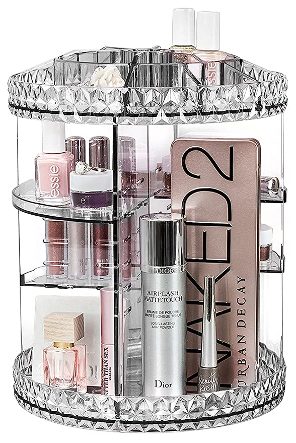 Sorbus Rotating Makeup Organizer, 360° Rotating Adjustable Carousel Storage For Cosmetics, Toiletries, And More — Great For Vanity, Bathroom, Bedroom, Closet, Kitchen (Clear) by Sorbus