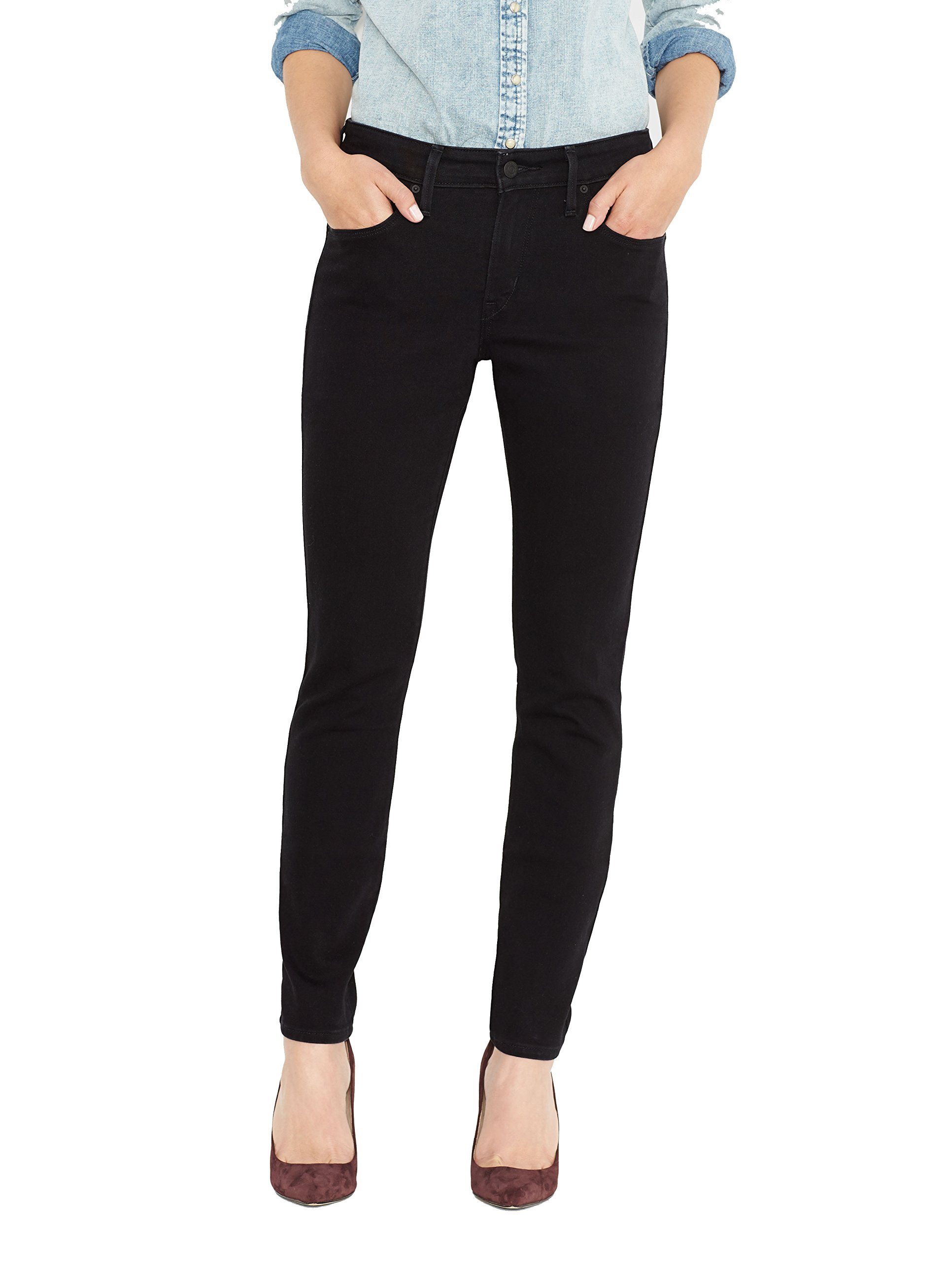 Levi's Women's Mid Rise Skinny Jean, Black Sateen, 29 (US 8) L