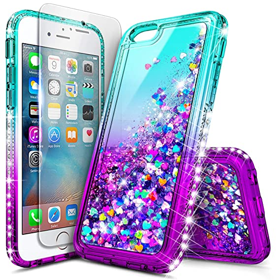 buy online b60b8 fc2fb iPhone 5S Case, iPhone SE/5 Case with Tempered Glass Screen Protector for  Girls Women Kids, NageBee Glitter Liquid Sparkle Bling Floating Waterfall  ...
