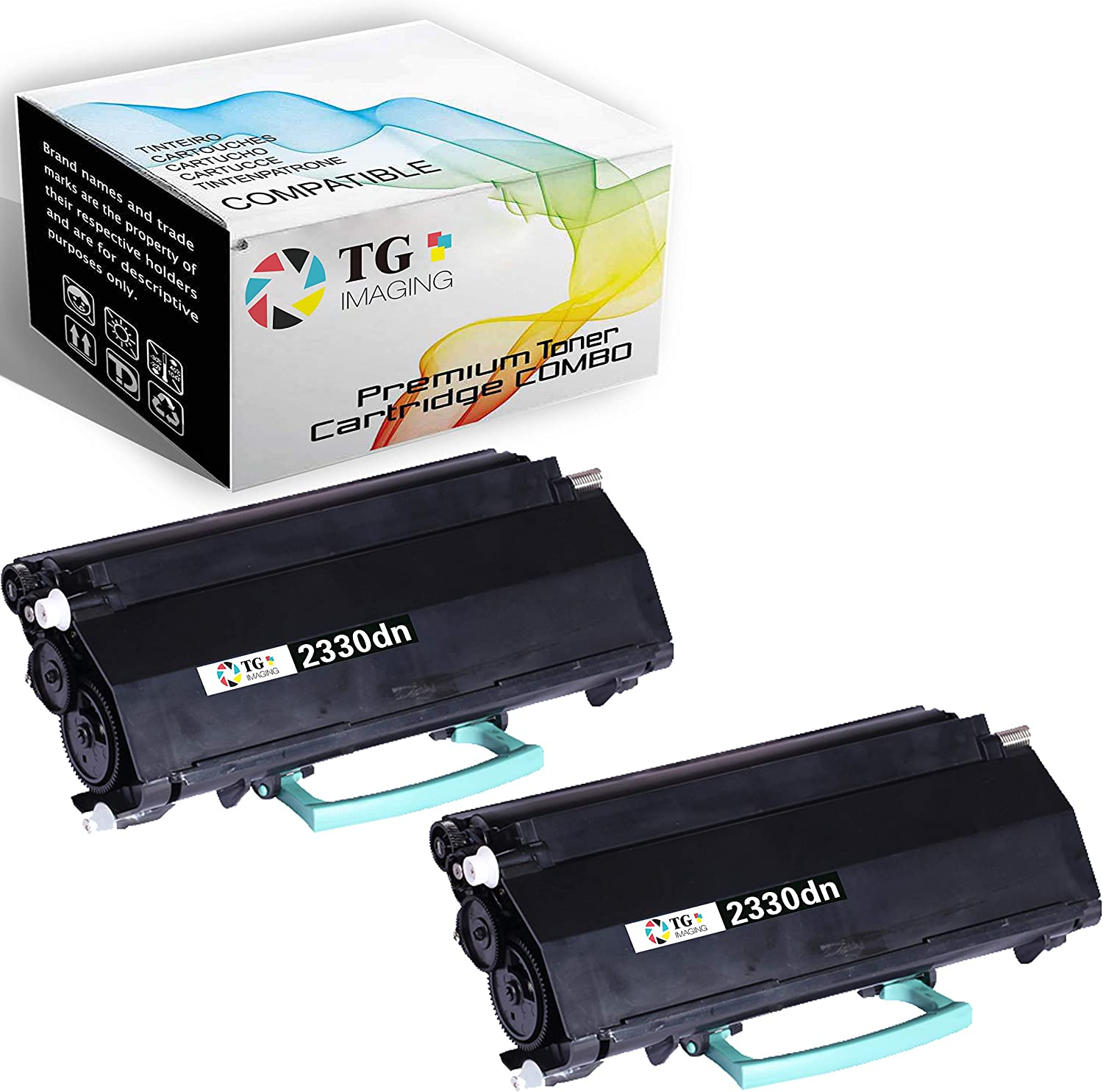 (2 Pack) TG Imaging Compatible 2330DN Toner Cartridge 330-2650 Replacement for Dell 2330 Worked in 2330d 2330dn 2350d 2350dn Printer