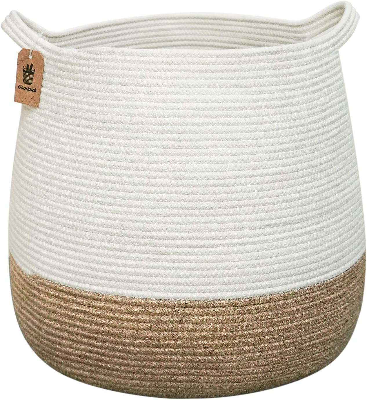 "Goodpick Wicker Laundry Basket | 17.71"" x 17.71""Cute Round Woven Rope Basket Natural 