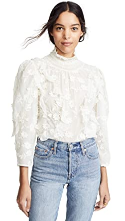 f9b7276812d9 Amazon.com  Rebecca Taylor Women s Long Sleeve Silk Embroidered Top ...
