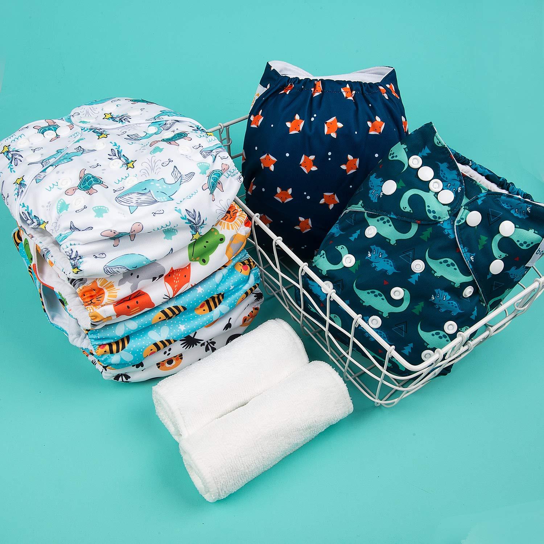Babygoal Baby Reusable Cloth Diapers, Adjustable Pocket Nappy 6pcs Diapers+6pcs Microfiber Inserts+4pcs Bamboo Inserts 6FB12