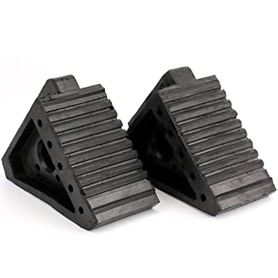 Fasmov Solid Rubber Heavy Duty Wheel Chock -2 Pack: Automotive