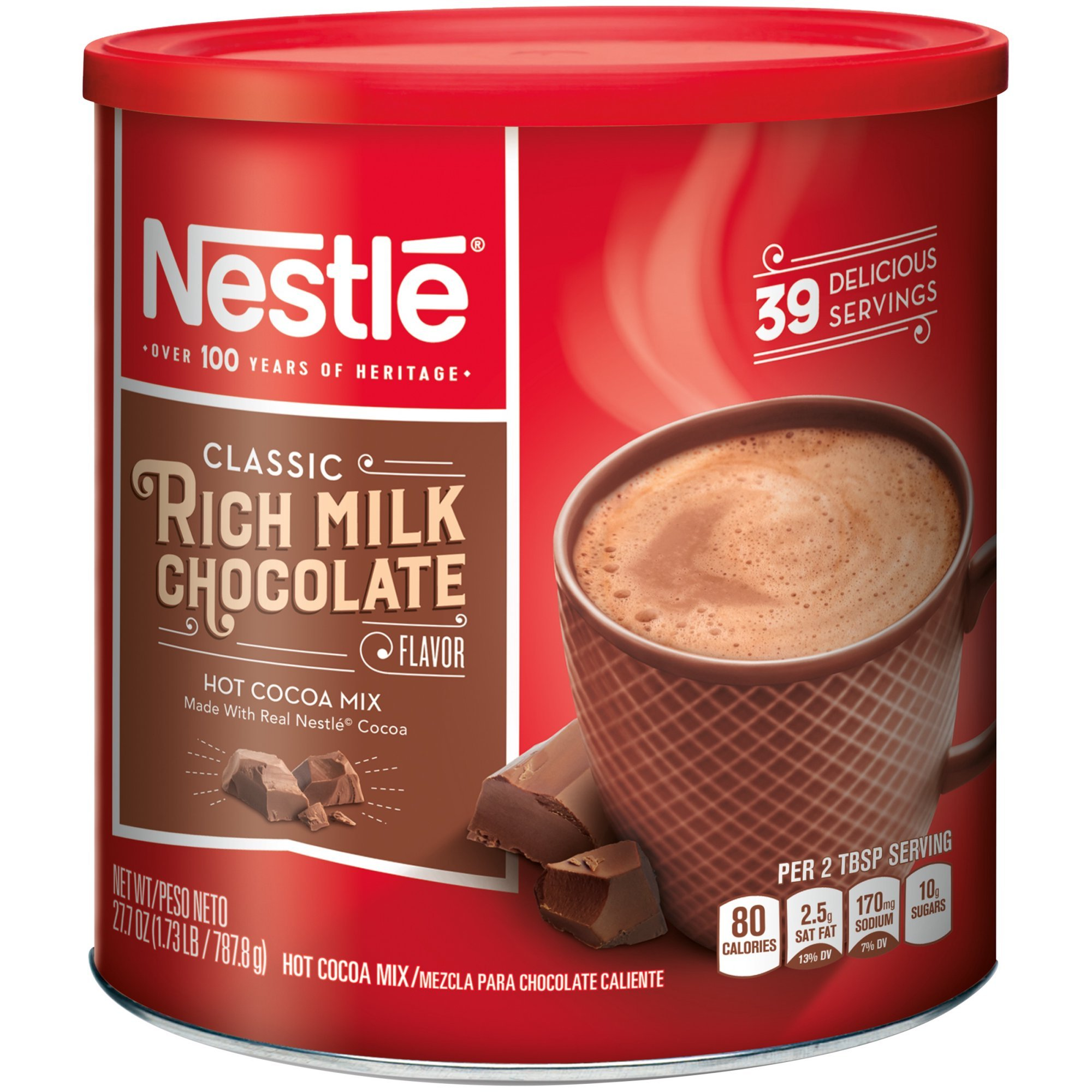 NESTLE HOT COCOA Mix Rich Milk Chocolate Flavor 27.7 oz. Canister (Pack of 5)