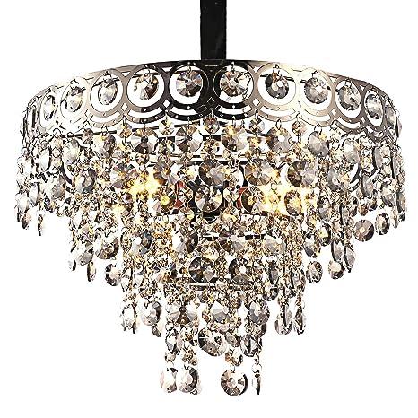 Amazon.com: Moderna lámpara de araña de cristal con elegante ...