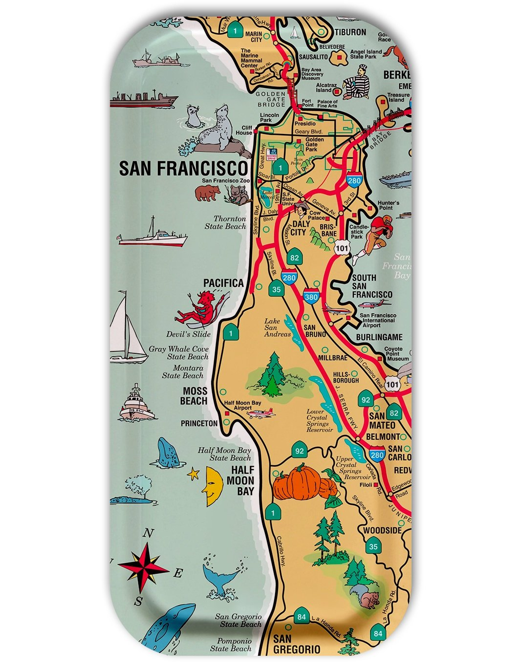 Amazon Com Trays4us San Francisco Peninsula Illustrated Chart Birch