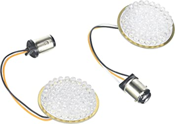 LED White//Amber Ringz for Harley 1157 Bullet Style Turn Signals Inserts