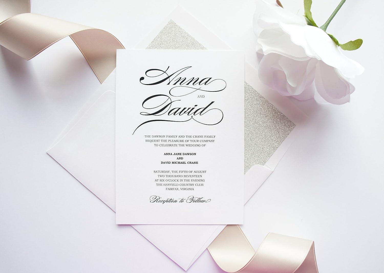 Amazon Com Calligraphy Wedding Invitation Sample Set Handmade