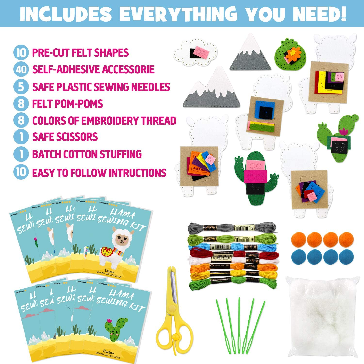 Easy Instructions and Safety Material to Sewing Beginners Educational Gift for Boys and Girls Llama Sewing Kit for Kids Make Your Own Llama Cactus Fun DIY Felt Craft Kit Includes 10 Creative Projects