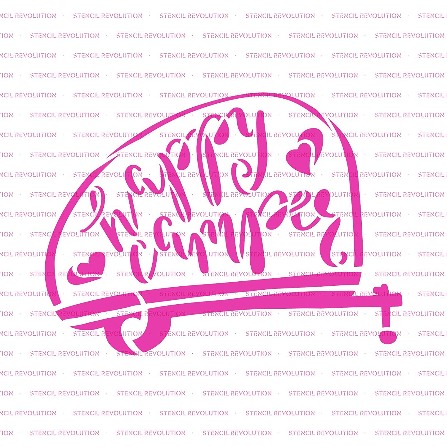 Reusable Stencils for Painting in Small /& Large Sizes Happy Camper Stencil Template for Walls and Crafts