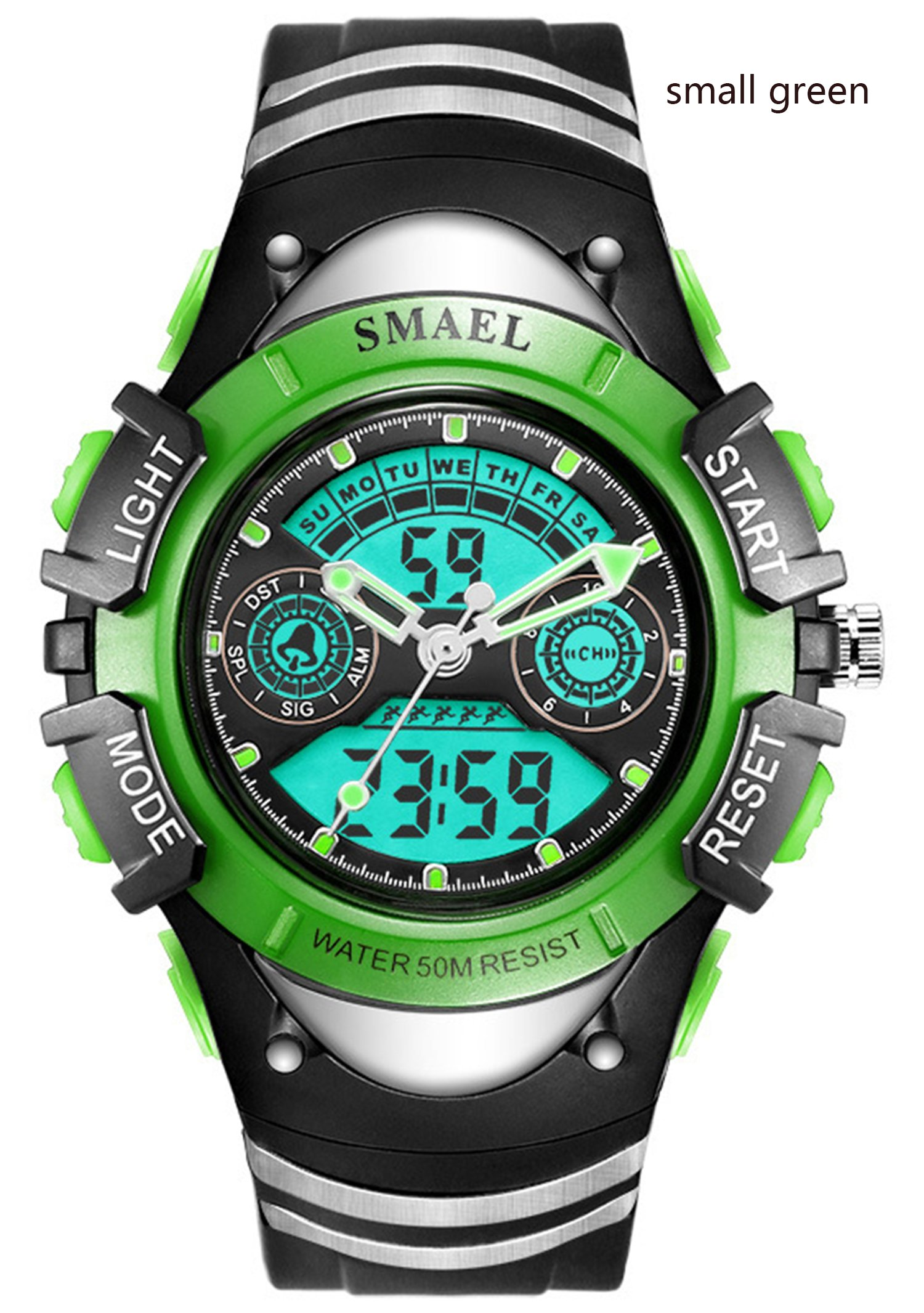 Kids Digital Watch Boys Sports Waterproof Quartz Wrist Watches with Alarm Stopwatch for Youth Childrens (small-green) by carlien