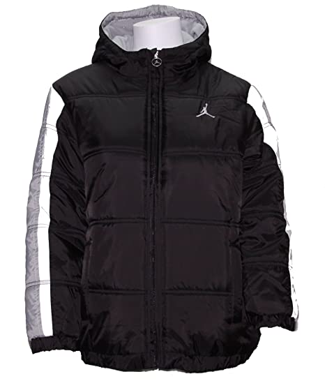 8647f61c7c61 Amazon.com  Nike Boy s Jordan Jumpman Hooded Puffy Jacket Black Grey ...