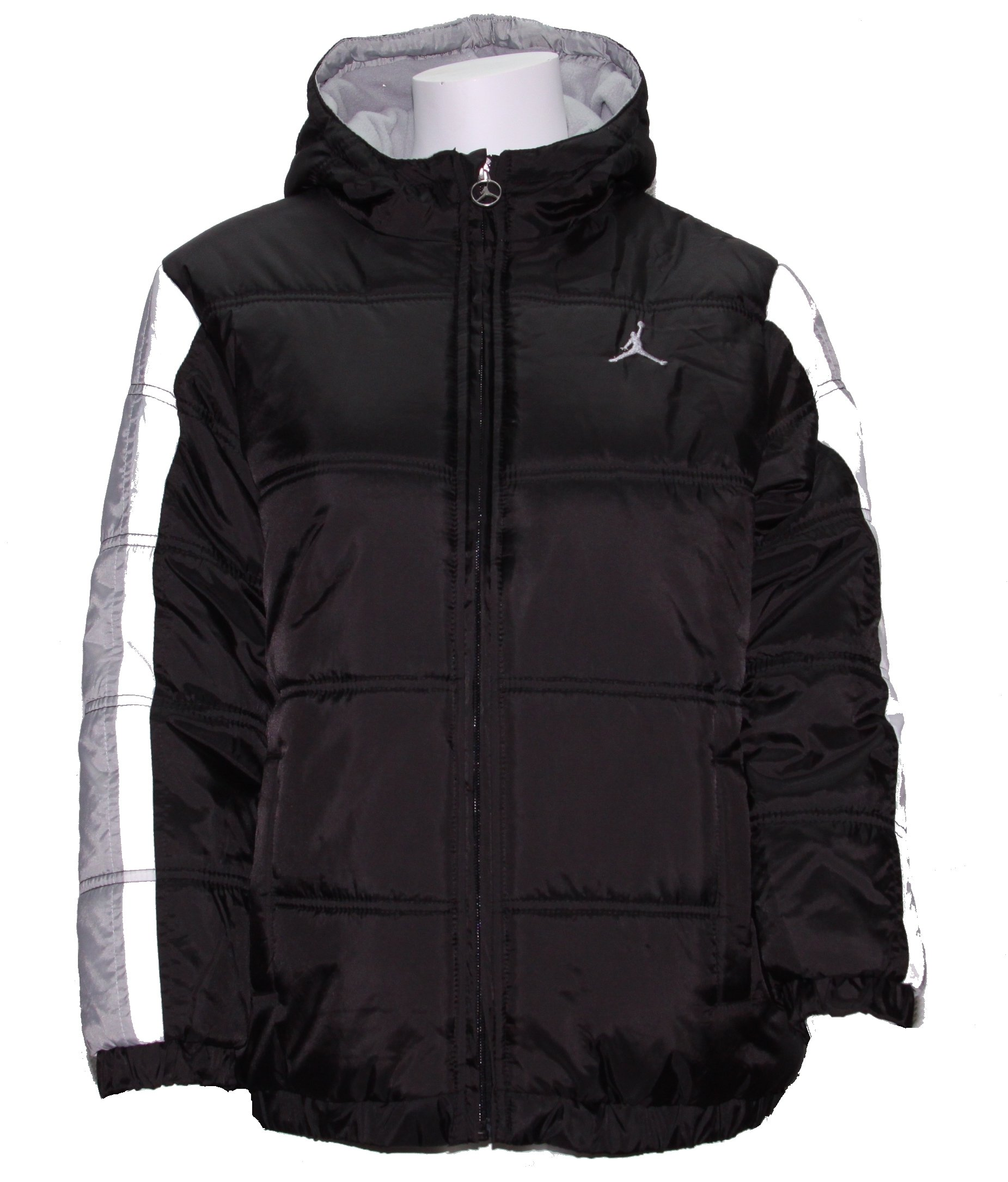 Nike Boy's Jordan Jumpman Hooded Puffy Jacket Black/Grey/White (Medium) by NIKE