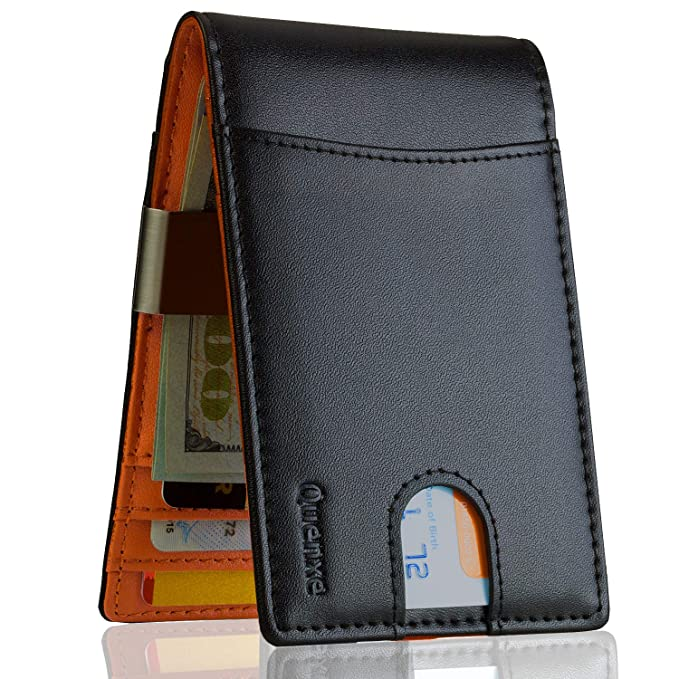 d9e4849f0400 Money Clip Wallets for Men Slim Front Pocket RFID Blocking Wallet ID Window  Minimalist Leather Bifold with Gift Box