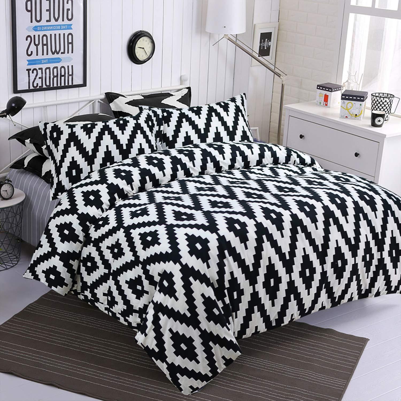 TEALP Black and White Bedding Aztec Bedding Geometric Aztec Tribal Design with Zipper(Queen, 1 Duvet Cover + 2 Pillowcase)