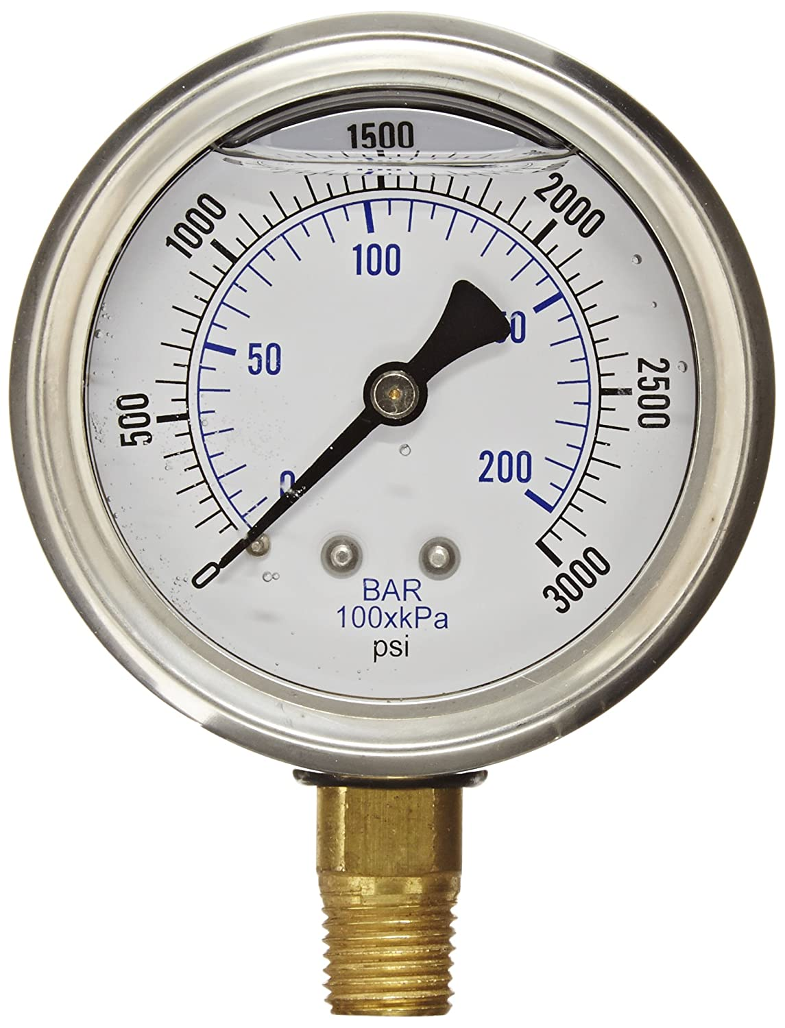 PIC Gauge PRO 201L 254P Glycerin Filled Industrial Bottom Mount Pressure Gauge with Stainless Steel Case Brass Internals Plastic Lens 2 1 2 Dial Size 1 4 Male NPT 0 3000 psi