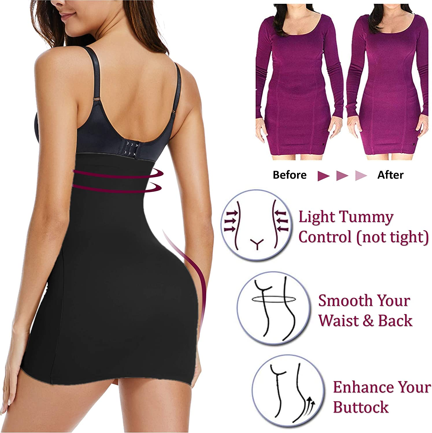 WOWENY Half Slips for Women Under Dresses Tummy Control Shapewear High Waist Slimming Seamless Invisible Underwear Skirt